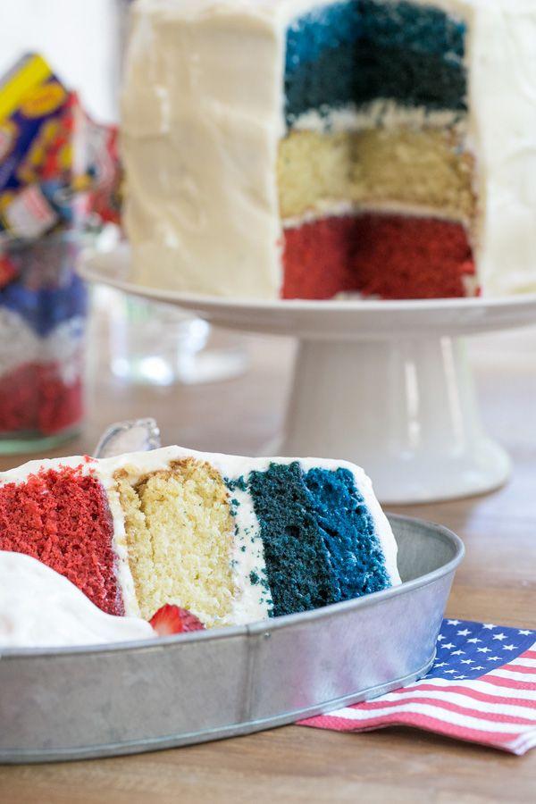 Red, White & Blue Velvet Cake | Sugar and Charm