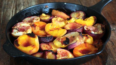... fruit with cinnamon, lemon and honey and serve with vanilla ice cream