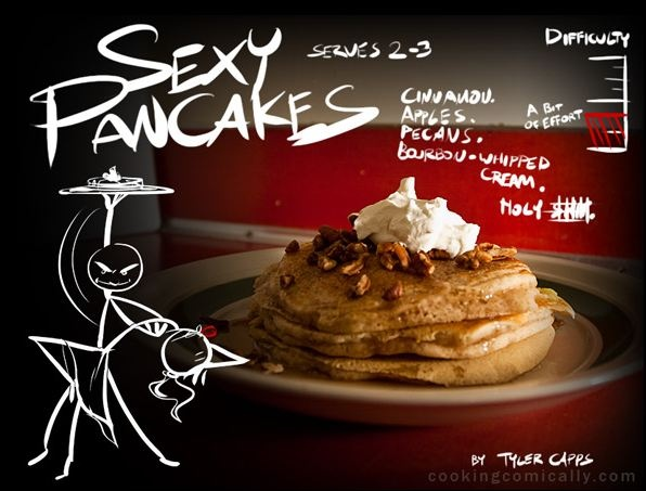 Sexy Pancakes. Caramel, apples, pecans, bourbon whipped cream.