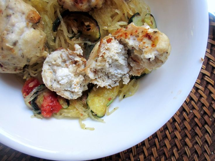 Goat Cheese Stuffed Chicken Meatballs with Spaghetti Squash & Basil G ...