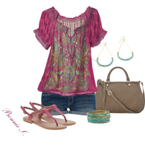 Plum Tunic and Sandals