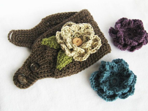 Crochet Pattern For Ear Warmer With Flower : CROCHET PATTERN Ear Warmer with Interchangeable Flowers ...