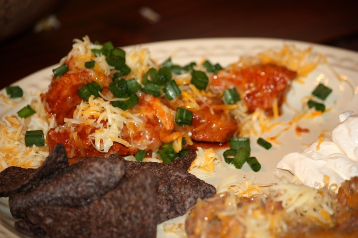 ... Slow cooker Enchilada Chicken and Refried Beans (without the refry