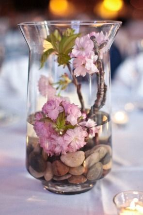 wedding centerpieces with the cherry blossom branches in a glass. Its classy! Raise a pinky peoples.