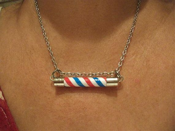 Barber Necklace : ThinType Barber Pole Necklace. Barber Pole Lamp Necklace. Man Necklac ...