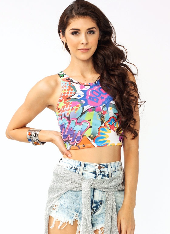 This cropped top features a comic print that's super funky and fun