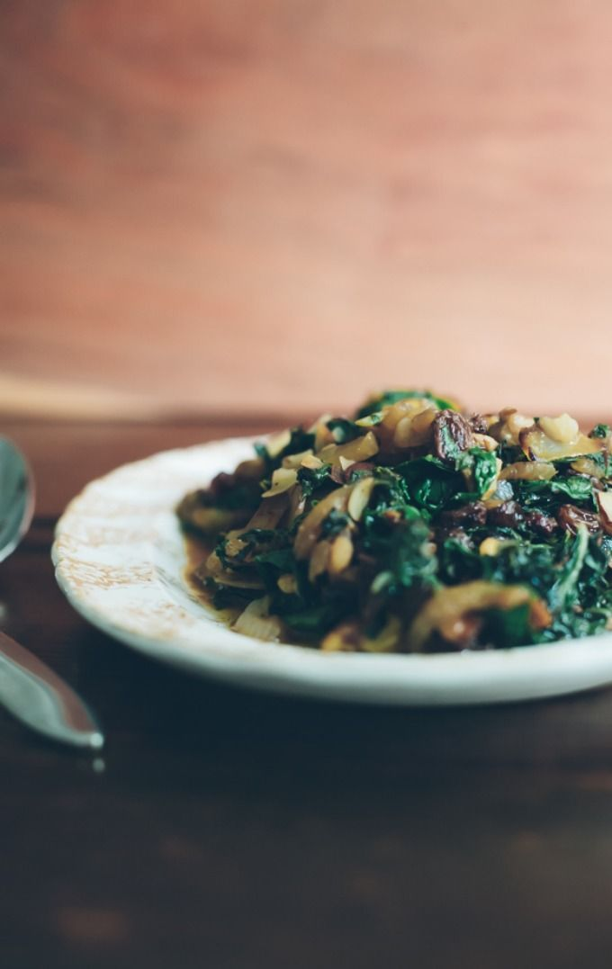 Sautéed Swiss Chard with Caramelized Onions, Almonds and Raisins | Re ...