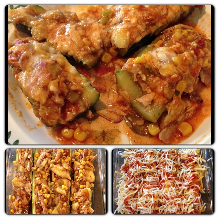 Chicken Enchilada Stuffed Zucchini from Closet Cooking! I added diced ...