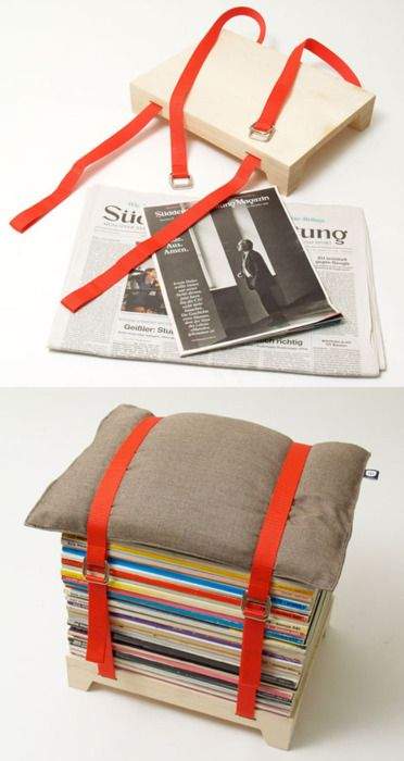 DIY stool out of magazines and a cushion.  This would be easy and pretty with a stack of yellow NGs.