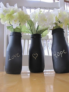 Starbucks bottle vases w/ chalkboard paint