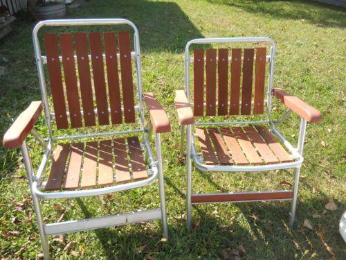 2 Vintage Tubular Aluminum Redwood CEDAR Lawn Chairs Frame
