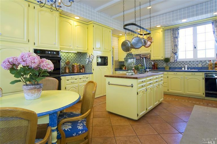 KITCHEN French Colonial Kitchen #blue #yellow #provencal
