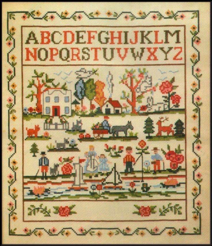 Vintage mazaltov s folk art country cross stitch