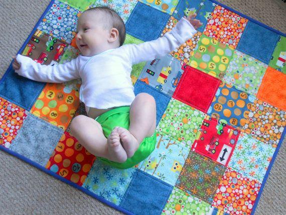 Baby boy patchwork quilt modern baby floor quilt in blue for Floor quilt for babies