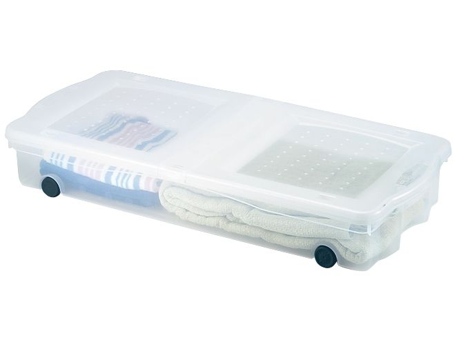 ... under the bed in this wheeled storage bin, box, tote and container