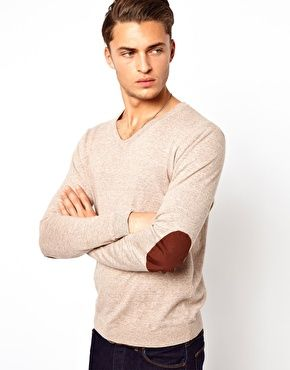 Image 1 of ASOS V Neck Sweater with Elbow Patches