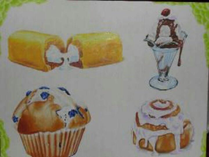 Love the sundae and cinnamon bun | Art for Life | Pinterest