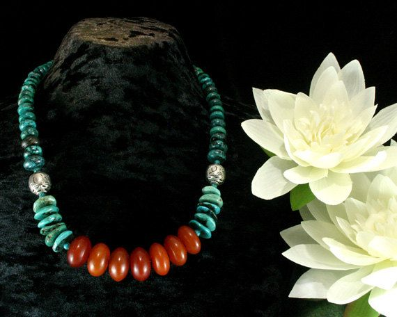 Turquoise Necklace  Chunky Beaded Tribal by ByDivineCollectibles, $36.25