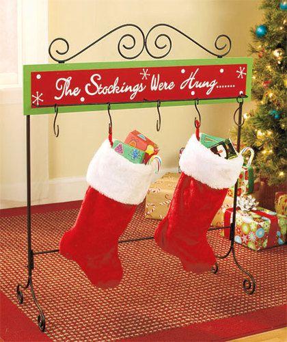 christmas stocking floor stand metal wood holder table rack hanger holiday decor. Black Bedroom Furniture Sets. Home Design Ideas