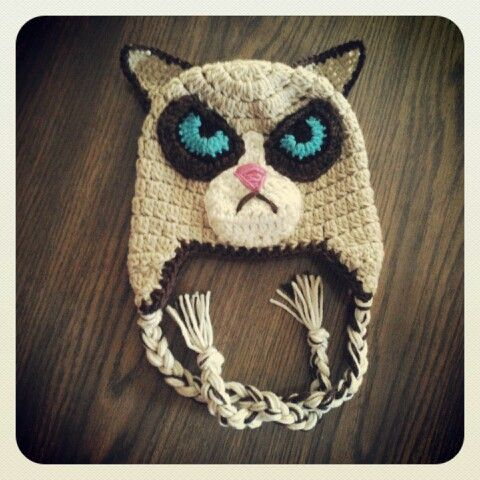 Grumpy Cat Amigurumi Pattern Free : Grumpy cat crochet hat! CROCHET HAT PATTERNS Pinterest