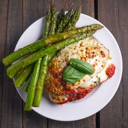 ... Chicken Stuffed with Roasted Red Pepper, Mozzarella, and Fresh Basil