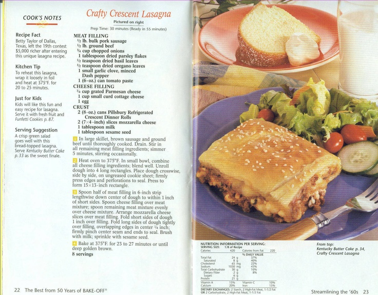 Crafty Crescent Lasagna | Old Fashioned Recipes | Pinterest