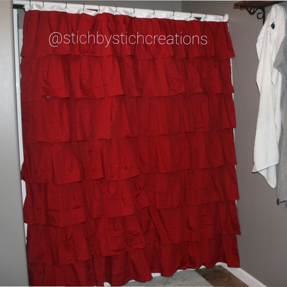 At https www etsy com listing 199777393 red ruffle shower curtain
