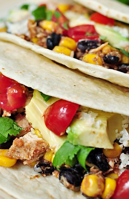 Slow Cooker Chicken Black Bean Tacos | Food - mexican | Pinterest
