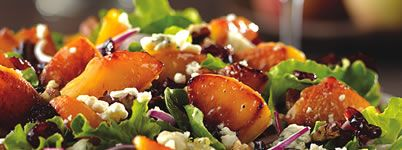 , spinach, warm caramelized peaches, dried cranberries, red onions ...