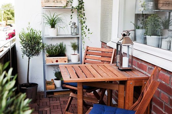 Furniture for a small balcony.  Table folds down to save space.