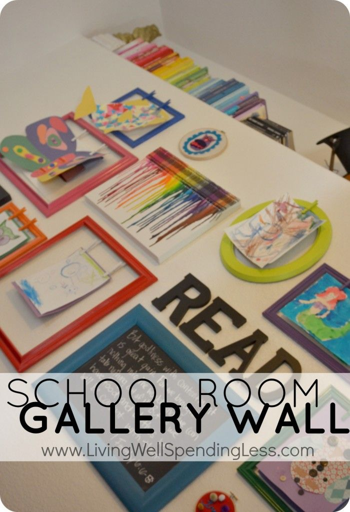 School Room Gallery Wall--awesome interchangeable kids artwork display!  Perfect for a playroom or homeschool room.