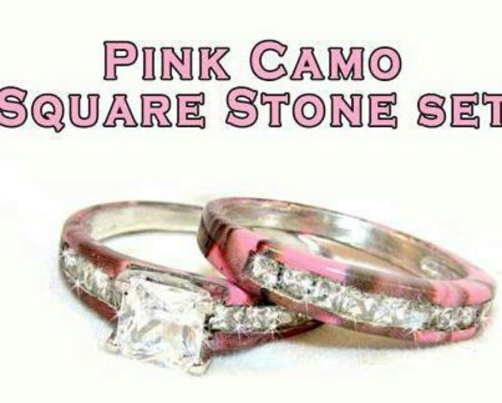 Pink camo wedding rings camo wedding stuff pinterest
