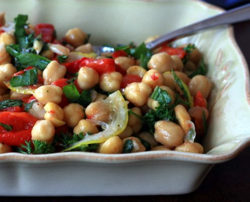 Lemon Chickpea Salad with Roasted Red Peppers | Recipe