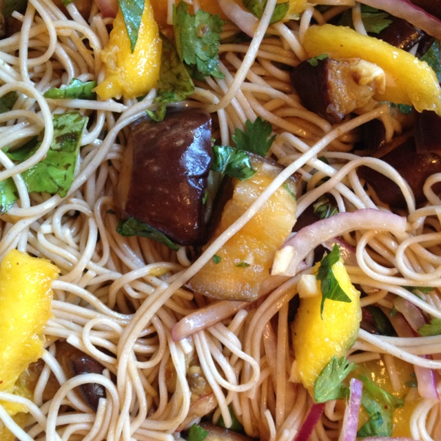 Soba noodles with eggplant and mango (thanks again and again, Plenty).