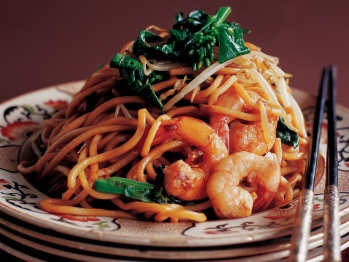 Stir-Fried Chinese Egg Noodles with Shrimp and Asian Greens | Recipe
