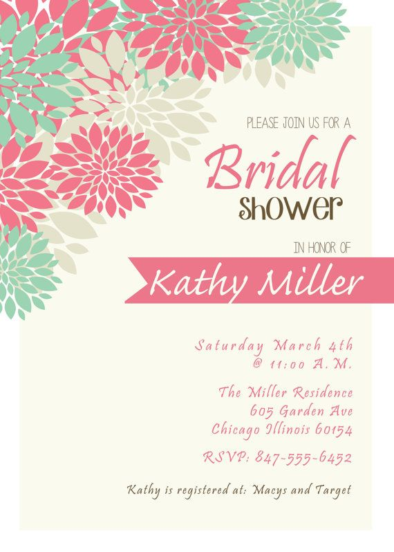 Bridal Shower Invitation DIgital Print File by FunablesCreations, $8 ...