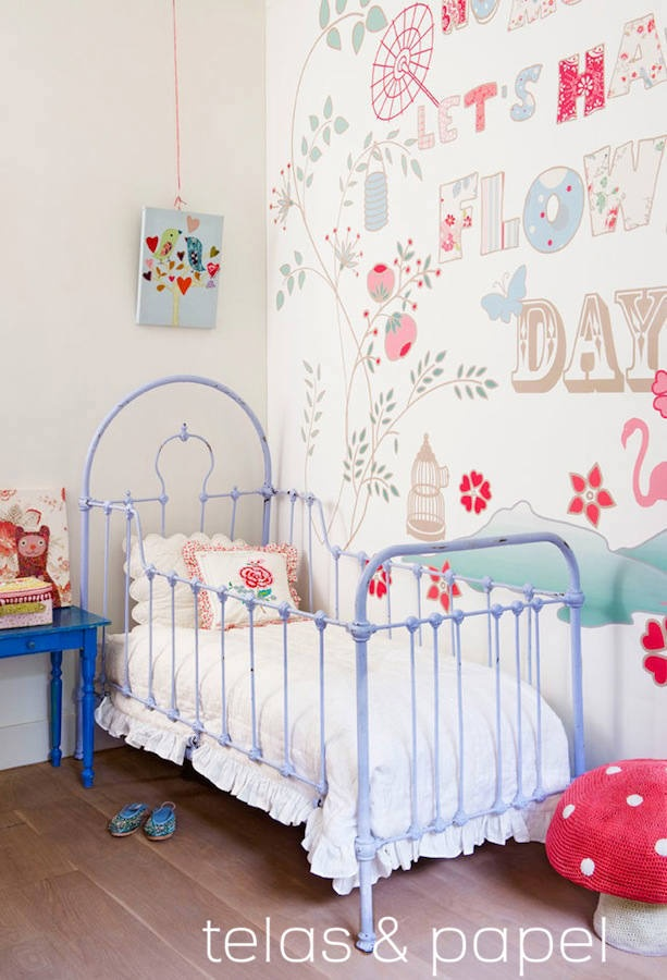 mural papel pintado Flowers day, telas & papel