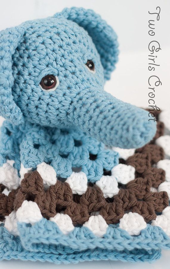 Crochet Pattern For Elephant Blanket : Elephant Crochet Security Blanket - Elephant Lovey - Baby ...