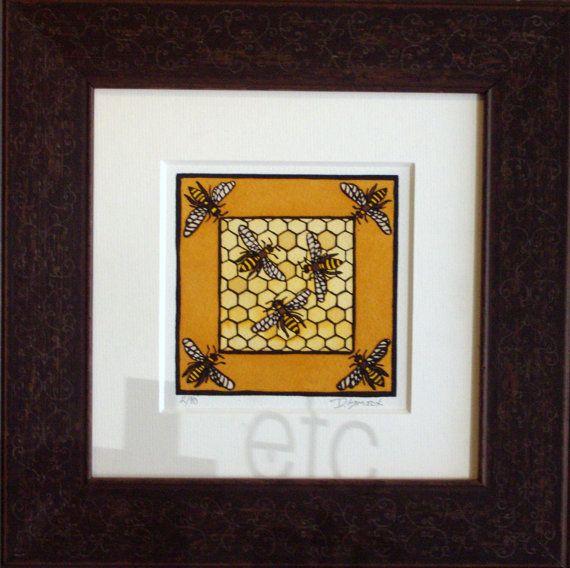 Original Block Print Mission Style Honeycomb Beehive Decor Art