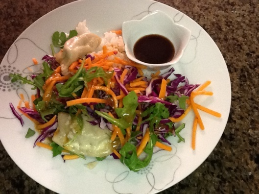 potsticker salad with sesame miso dressing | Chef Emily | Pinterest