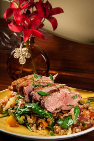 Grilled Duck Breast & Carrot-Farro-Herb Salad with Hard Cider Jus. # ...