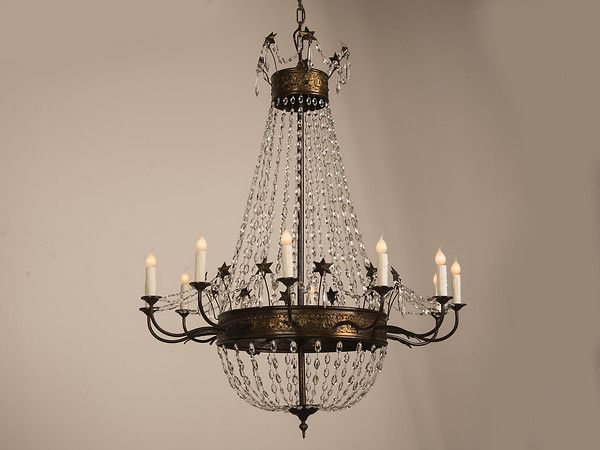 Gilt metal crystal chandelier from belle epoque period france c 1890