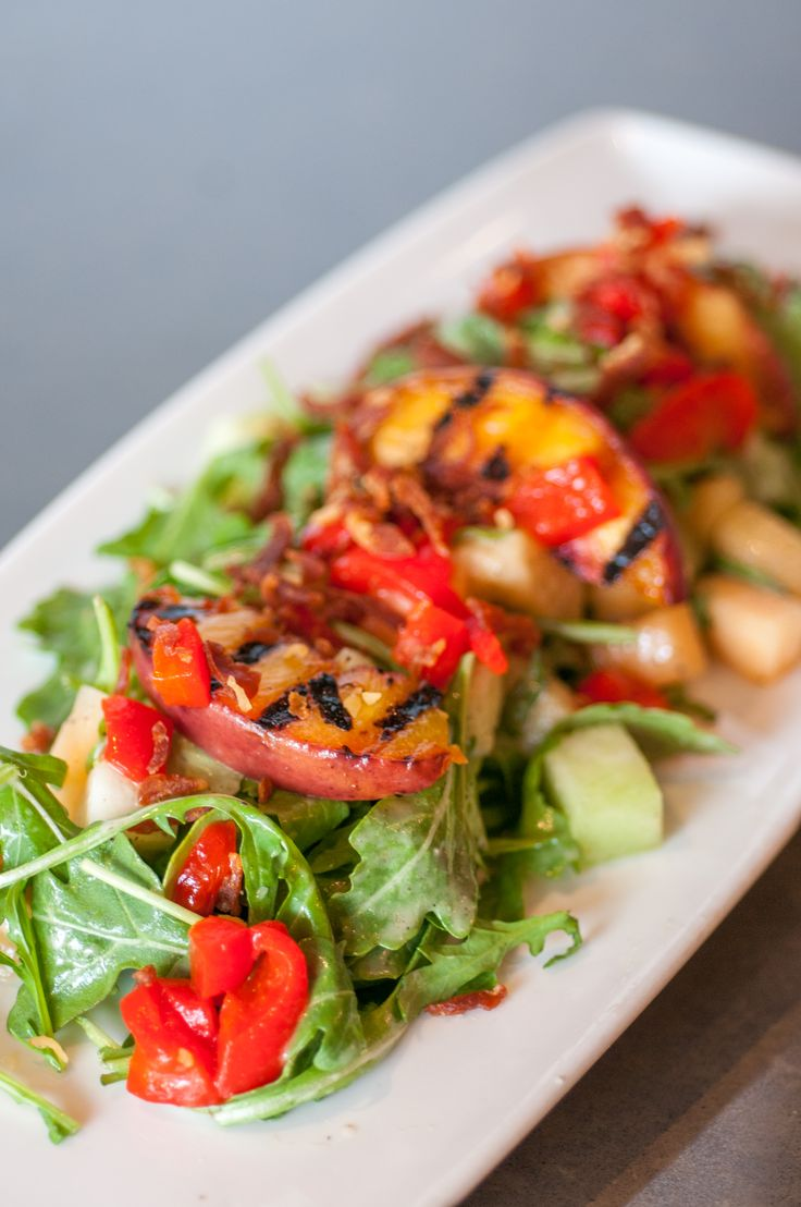 GRILLED PEACH AND MELON SALAD with crispy prosciutto and honey-lime ...