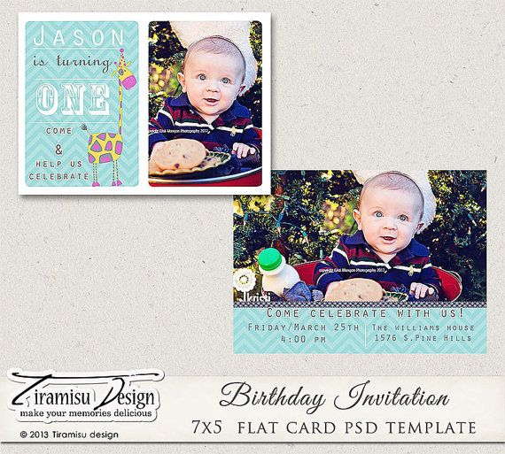 7x5 Birthday Invitation Photoshop Template vol1 by TiramisuDesign, $5 ...