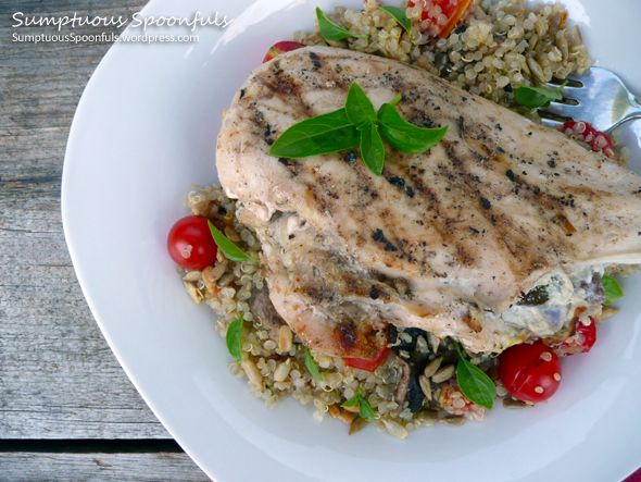 Grilled Stuffed Chicken with Mushroom Cherry Tomato Pilaf