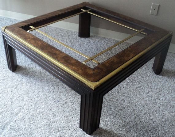 Large square burl wood brass glass coffee table for Large glass coffee table