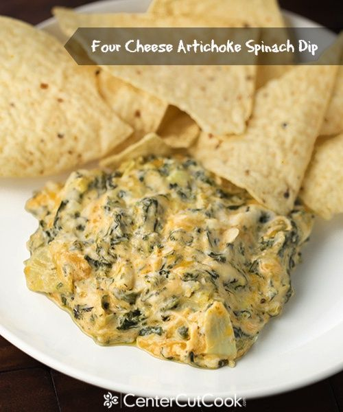 Delicious and easy Four Cheese Artichoke Spinach Dip!
