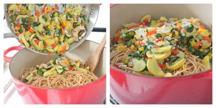 Vegetable Party Spaghetti with Warm Garlic Thyme Olive Oil | Recipe