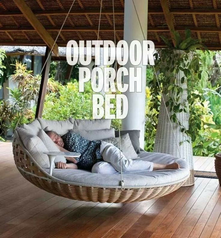 Outdoor porch bed house and home pinterest for Outdoor hanging bed swing