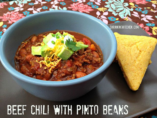 ... Beef Chili with Pinto Beans! from shrinkingkitchen.com #chili #recipe